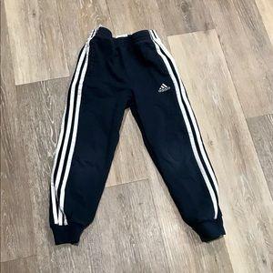 Adidas Boys three stripe sweat pants Size 6.